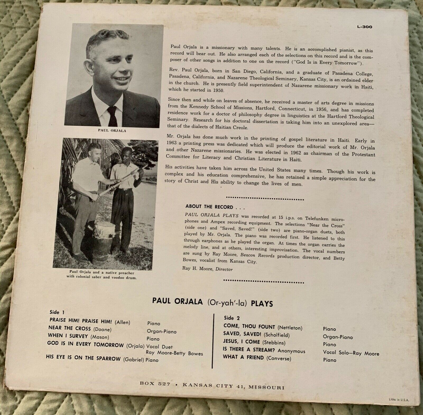 Primary image for Missionary to Haiti - Paul Orjala Plays Beacon Hill Rare Vintage Record LP