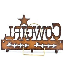 Country Western Rusted Patina Iron Metal Cutout Cowgirl 3 Hook Key Hanger Decor image 2