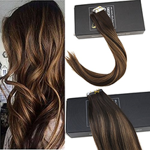 Sunny 16inch Tape in Hair Extensions Human Hair #2 Darkest Brown Fading ... - $59.02