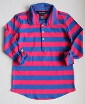 Ralph Lauren Girls Shirt Knit Top Striped Royal Blue Hot Pink Rolled Up ... - $14.99