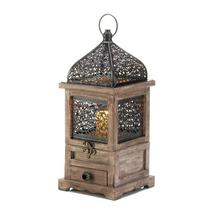 10 Flip Top Candle Lanterns w/ Drawer Pine Wood w/ Black Iron Cutouts 14... - $242.95