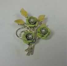 Vintage Green Enamel Faux Pearl Rose Pin Brooch - $17.81