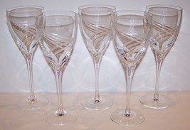 "Stunning Signed Set Of 5 Lenox Crystal Windswept 8 5/8"" Water Goblets - $100.18"