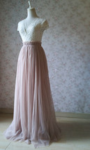 2020 Wedding Tulle Skirt High Waisted Bridesmaid Long Tulle Skirt, Light Taupe   image 6