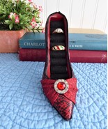 High Heeled Shoe Ring Holder Red Jeweled Faux Snakeskin 7 Slots Fashion ... - $14.00