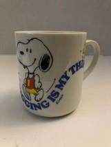 Vintage Peanuts Snoopy Coffee Mug Cup Jogging Is My Thing 1965 Running W... - $23.74