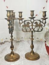 "PAIR OF ANTIQUE BRASS 3 Light Sabbath Shabbos Candelabrum 14 1/4"" T X 9"" W  image 5"