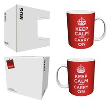 Keep Calm and Carry On Vintage Art Propaganda, Motivational, Red Ceramic... - $16.96