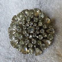 BEAUTIFUL 1940s PIN Rhinestone Radiating Flower Burst 51 Prong Hand Set ... - $75.00