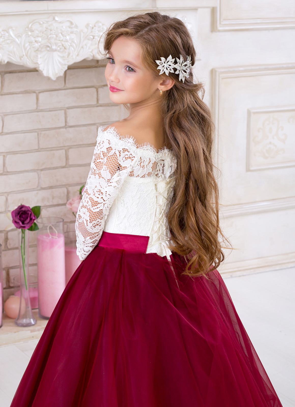Rhinestones Beaded Tulle Flower Girls Long Dress Pageant Gown Wedding Party 5039