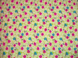 Floral Pink Turquoise Green Fabric Hair Scrunchie Scrunchies by Sherry  - $6.99