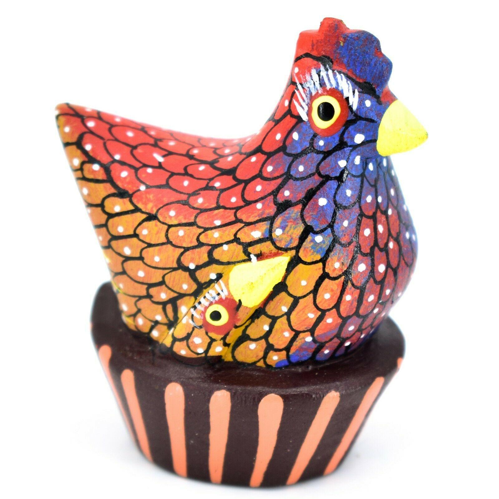 Handmade Alebrijes Oaxacan Painted Wood Folk Art Chicken Hen Basket Figurine