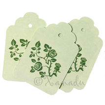 20 Pcs Mint Green Rose Floral Wholesale Paper Label Tags  - $9.90