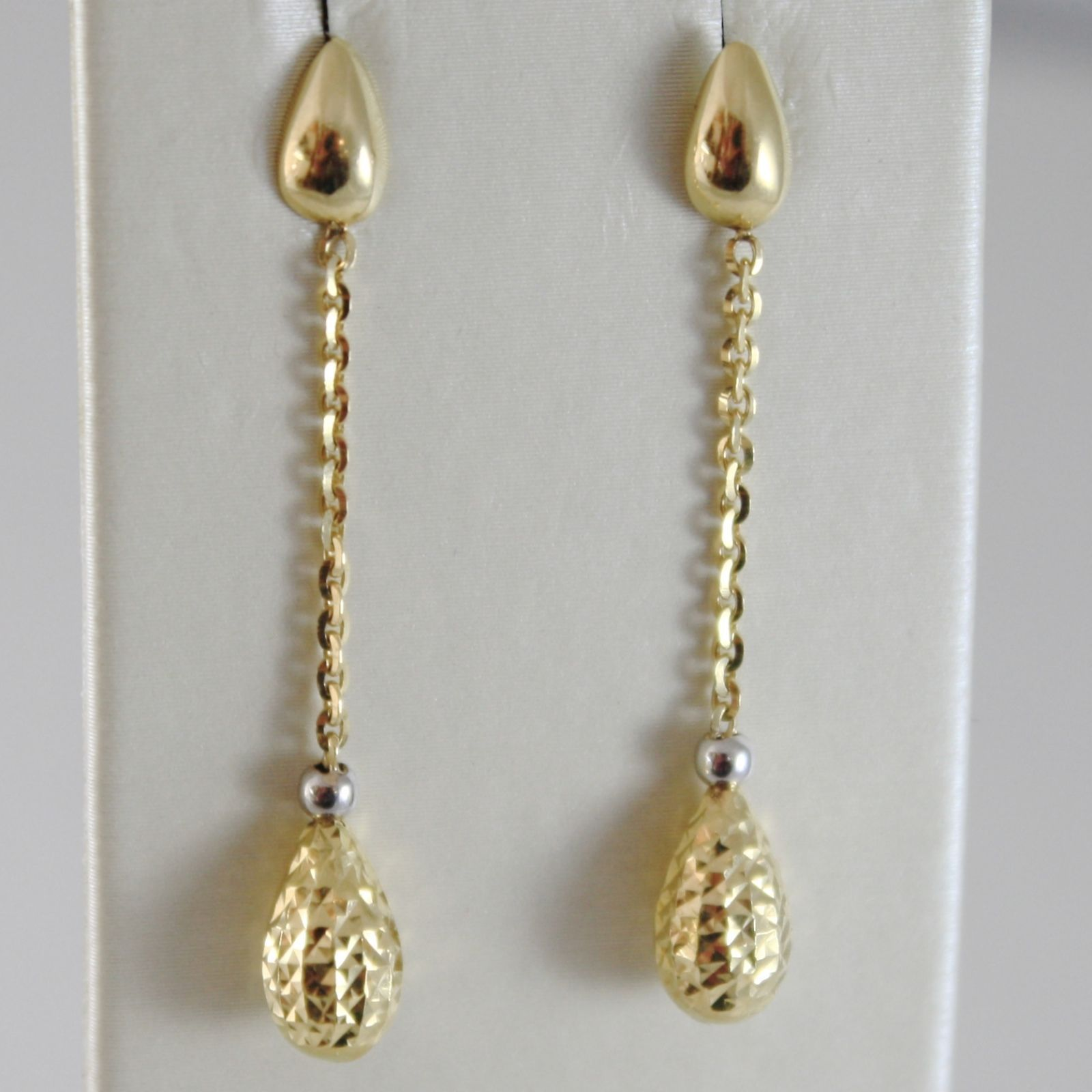 YELLOW GOLD EARRINGS 750 18K HANGING 3.8 CM DROP WORKED, MADE IN ITALY