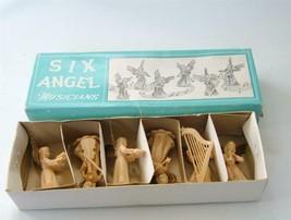 Vintage Set of 6 Angel Musicians Hard Plastic in Box Ara Hong Kong Cake ... - $19.79