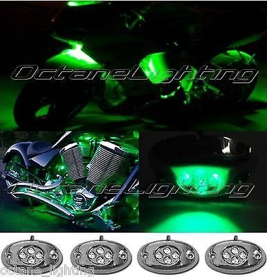 Primary image for OCTANE LIGHTING 4Pc Green Led Chrome Modules Motorcycle Chopper Frame Neon Glow