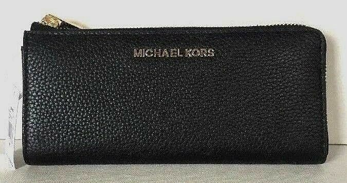 Primary image for New Michael Kors Jet Set Travel Large 3/4 zip wallet Leather Black