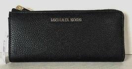 New Michael Kors Jet Set Travel Large 3/4 zip wallet Leather Black - $69.00