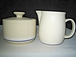 Gibson Housewares Casualware Creamer Sugar bowl Blue Stripe Black Stmp Excellent - $20.99