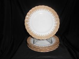 "Antique Plates Dessert Bread Royal Worcester Gold Lace Set Of 4 1899-1901 6 3/4"" - $42.75"