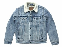 Levis Mens M Light Blue Wash Classic Sherpa Denim Jean Trucker Jacket Re... - $121.60