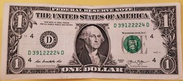One US Dollar Bank Note w/ Quad 2222 Serial Number D39122224D - $4.95