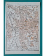 1936 MAP- GERMANY German Reich Leipzig City Plan + Town Center - $30.60