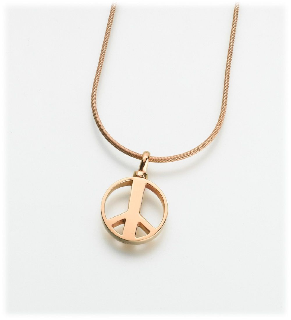 Sterling Silver Peace Sign Memorial Jewelry Pendant Funeral Cremation Urn image 2