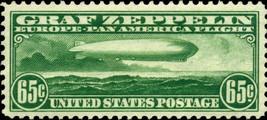 1930 65c Graf Zeppelin Over Atlantic Ocean, Green Scott C13 Mint F/VF NH - $275.00