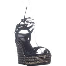 Sergio Rossi Bilbao Wedge Ankle Strap Sandals, Black, 10 US / 40 EU - $377.27