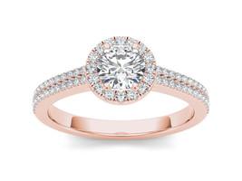 IGI Certified Genuine 14K Rose Gold 1 Ct Natural Diamond Halo Engagement... - $1,514.69