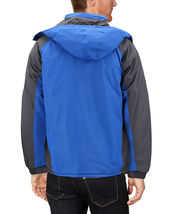 Men's Quilted Lined Removable Hood Two Toned Zipper Puffer Lightweight Jacket image 3