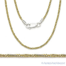 .925 Sterling Silver 14k Yellow Gold GP 1.7mm Roc-Link Twist-Rope Chain ... - $28.50+