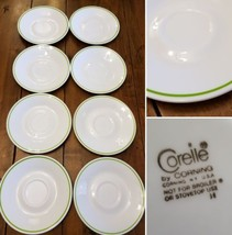 "Lot 8 Corelle 6"" Shadow Iris Saucer Mug Desert Plates White With Green O... - $41.70"