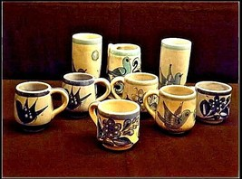Mexico Pottery Cups Set of 9 pieces Vintage image 2