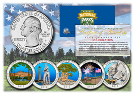 2013 America The Beautiful COLORIZED Quarters U.S. Parks 5-Coin Set w/Ca... - $12.82