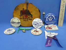 Lot of 10 Bemidji MN Memorabilia Paul Bunyan Button Pins Wood Beavers Lu... - $19.79