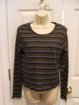 new/pkg frederick's of hollywood brown/blue striped ribbed top made in U... - $11.13