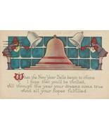 Vintage Postcard New Year Bells Men Play Horns 1935 - $7.91