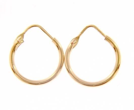 18K ROSE GOLD ROUND CIRCLE EARRINGS DIAMETER 13 MM WIDTH 1.7 MM, MADE IN ITALY
