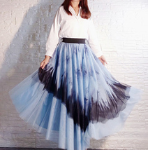 Dusty Blue Long Tulle Skirt Butterfly Dye Tulle Skirt Plus Size Party Outfit image 3