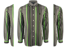 Polo Ralph Lauren Men's Striped Sateen Shirt, Kiwi/Black, Size S. - $59.39