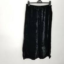 J Jill Womens Maxi Skirt M Crushed Velvet Black Modest Drawstring Elasti... - $29.02