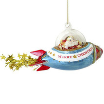 Darice Christmas Glass Ornament: Santa Drives Rocket, 9 x 3.25 inches w - $17.99