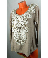 Anthropologie MEADOW RUE Medium SHIRT TOP Pullover FLORAL EMBROIDERED Br... - $23.16