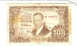 1953  SPAIN 100 PESETAS BANK NOTE - $11.88