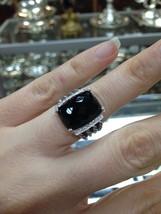 Pre Owned David Yurma Wheaton Onyx & Diamond  Ring 16mmx12mm  Size 8 - $475.00