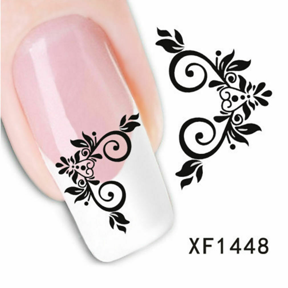 Primary image for Nail Art Water Transfer Sticker Decal Stickers Pretty Flowers White Black XF1448
