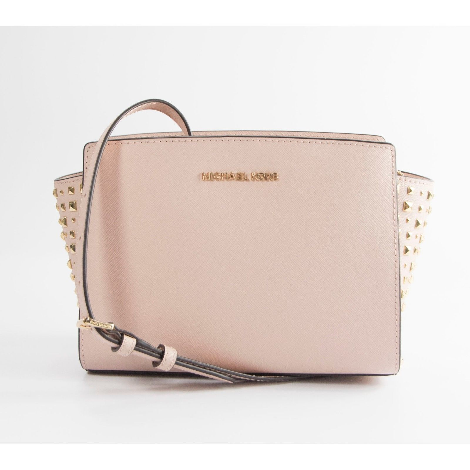e7ecb668abdf Michael Kors Ballet Studded Saffiano Leather Selma Medium Cross Body Bag NWT  - $125.81
