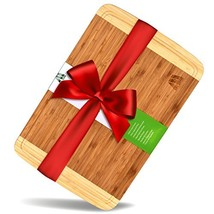MH ZONE Large Thick End Grain Bamboo Cutting Board | Professional, Antib... - $16.57